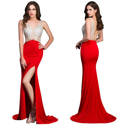 Long Mermaid Sequins Formal Prom Dresses Party Ball Evening Pageant Wedding Gown