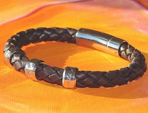 Para Hombre//Damas 4mm trenzado de cuero y pulsera de acero inoxidable por Lyme Bahía Arte