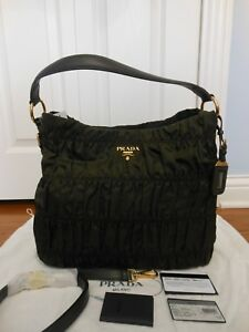 8f35d4f08860 NWT Prada $1295 Tessuto Gaufre Ruched Nylon Hobo Crossbody Shoulder ...