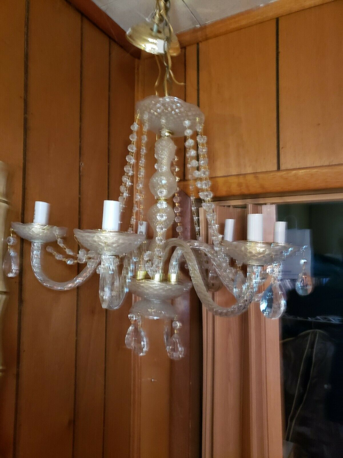 "Crystal Chandelier Glass 6 arms 21"" Span Prisms  and chained  crystals"