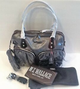 Details About Nwt 415 Mz Wallace Mica Linen Silver Coated With Black Kate Shoulder Diaper Bag