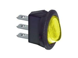 Interruttore-a-bilanciere-220V-6A-unipolare-giallo-luminoso-rotondo-23mm-12V