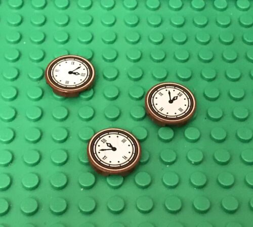 Lego X3 Reddish Brown Round Tile 2x2 With Clock w// Roman Numerals Simple Pattern
