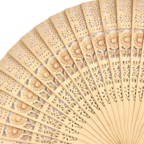 Chinese Folding Bamboo Original Wooden Carved Hand Fan fit Wedding Party YH