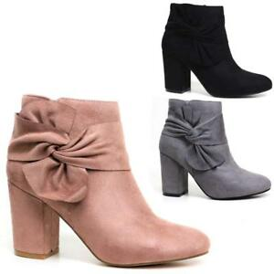 New-Womens-Ladies-Ankle-Boots-High-Block-Heel-Buckle-Side-Zip-Casual-Shoes-Sizes