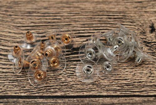 Bullet Comfort Clutch Earring Back Earnut Ear Stopper Barrel Bell Plastic Shield