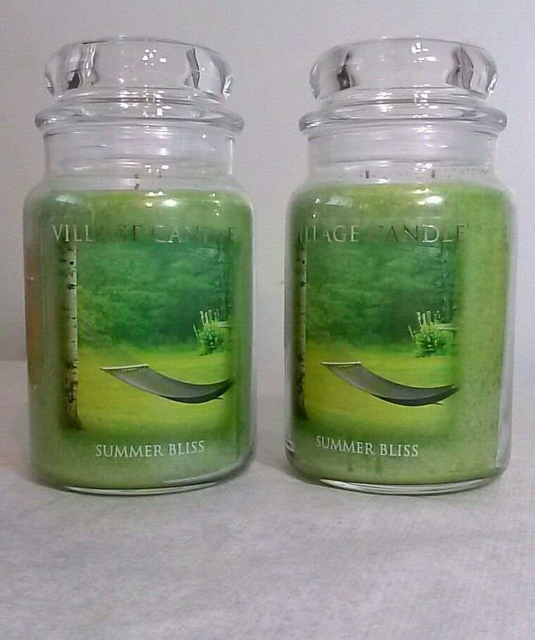 Village Candle SUMMER BLISS Large Jars 2 Lot 21.25oz Candles smells like grass