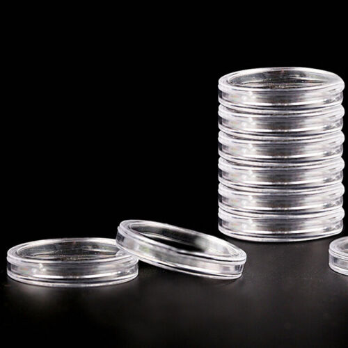 10pcs 40mm Applied Clear Round Cases Coin Storage Capsules Holder Plastic GFBDC