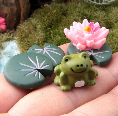 FD1525 Miniature Dollhouse Bonsai Craft Landscape DIY Flower Decor ~Frog Lotus~