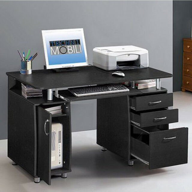 Home office computer desk Contemporary Home Office Computer Pc Desk Workstation Study Writing Table With Drawer Black Ebay Home Office Computer Pc Desk Workstation Study Writing Table With