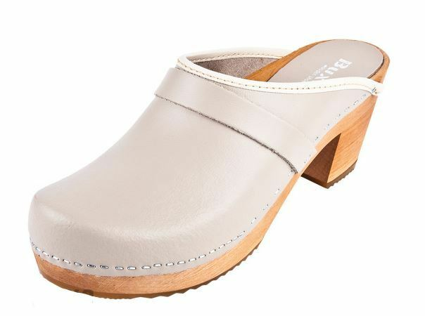 Wooden  leather clogs  OS1   Beige color US shoes Size  (Women)