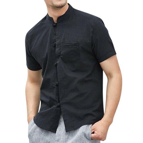 Men Vintage Baggy Cotton Linen Buttons Short Sleeve Retro T Shirts Tops Blouse