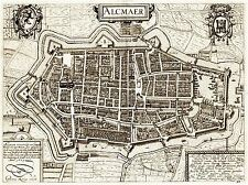 MAP ANTIQUE CITY PLAN ALKMAAR NETHERLANDS ART POSTER PRINT LV2091