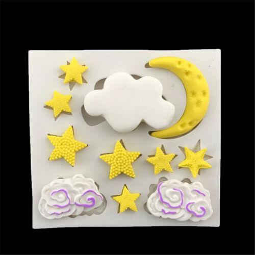 Wolke Sterne Mond Silikon Fondantform Kuchen Dekor Werkzeuge Gumpaste Fo/_JF