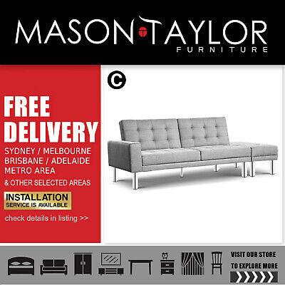 Pleasing Artiss Fabric 3 Seater Ottoman Sofa Bed Recliner Grey Evergreenethics Interior Chair Design Evergreenethicsorg