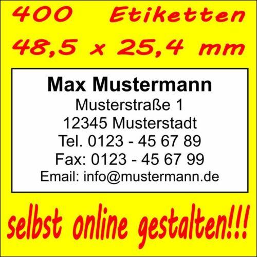 400 Absender Etiketten Adress-Aufkleber Adress-Etikett  Druck selbst gestalten