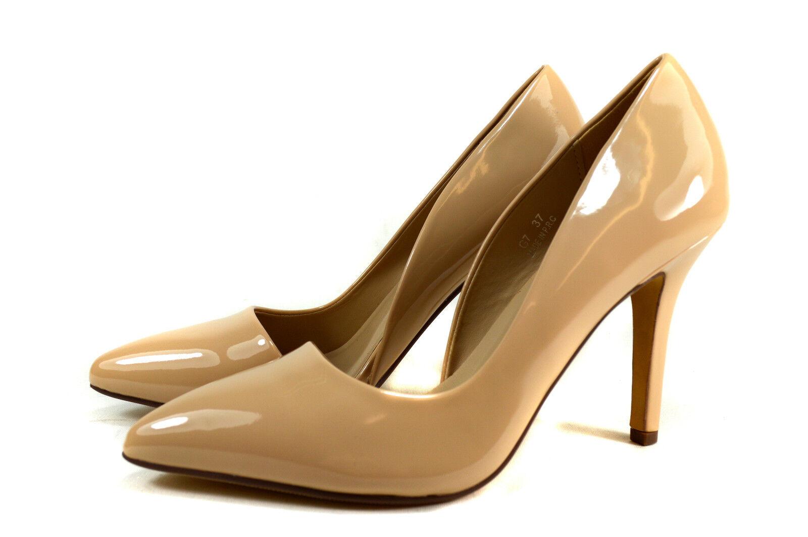Elegant Women's Evening Shoes Lace Pumps High Heels Size gr.36-40 Beige A.G7