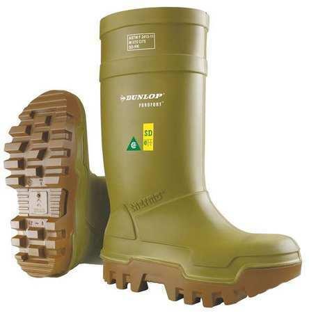 """DUNLOP E662843 Knee Boots,Sz 15,16/"""" H,Green,Stl,PR"""