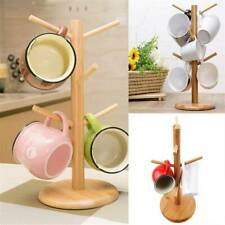 Wooden Mug Tree Stand Kitchen Coffee Glass Cup Rack 6 Cups Tree Storage Holder
