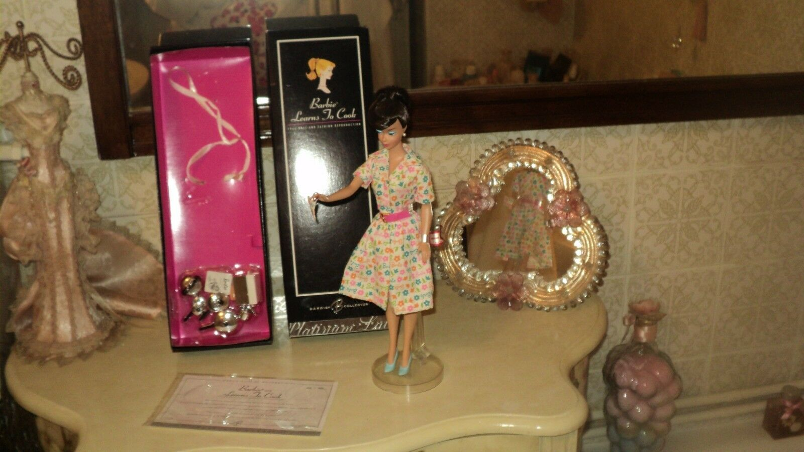 BRUNETTE SWIRL BARBIE LEARNS TO COOK 1965 2006 REPRODUCTIONPLATINUM LABEL