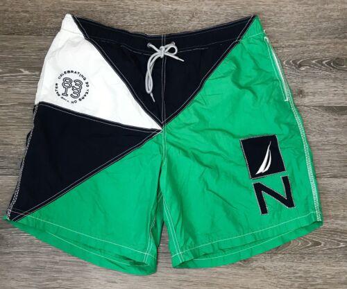 Nautica Performance Green Navy White Swim Trunks B