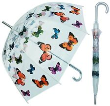 "46"" Arc Clear Dome Style with Butterflies Umbrella - RainStoppers Rain Fashion"