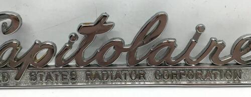 Vintage US Capitolaire Radiator Metal Emblem Ornament Nameplate Script Trim