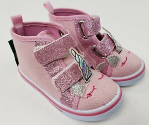 Laura Ashley Unicorn Shoes 8 Toddler Pink Glitter Hi Top Girls Straps Sneakers