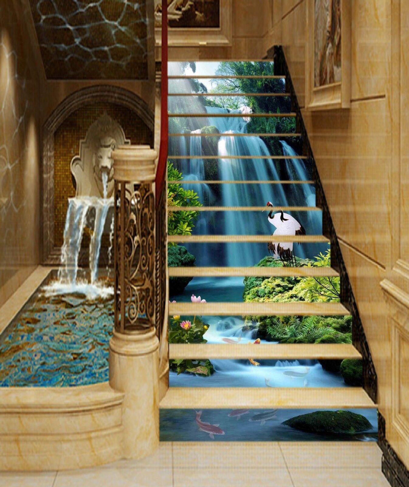 3D Waterfall Bird 7 Stair Risers Decoration Photo Mural Vinyl Decal Wallpaper CA