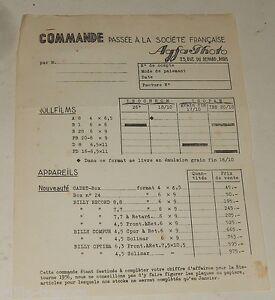 RARE-document-COMMANDE-Societe-Francaise-AGFA-Photo-Appareils-amp-Rollfilms
