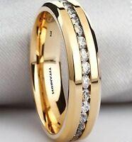 Boxed Mens Created Diamonds Titanium Gold Gp Wedding Engagement Ring 6mm
