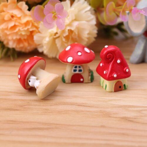 3Pcs//Set Cute Mushroom House DIY Resin Garden Craft Decoration Miniature Micro