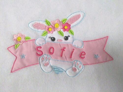 Bestickte Baby Decke mit Geburtstag Daten Wünschname Taufe Baby Hase