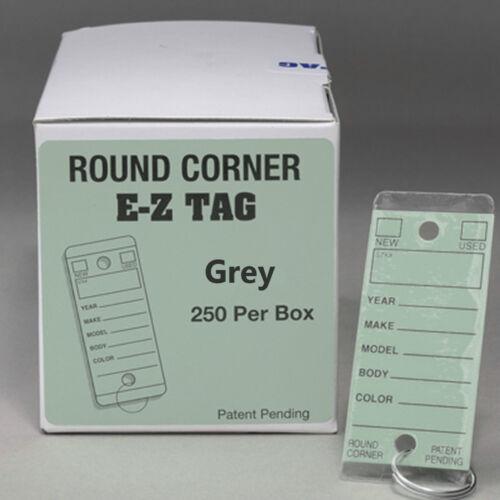 EZ407 Versa Tag Style Car Dealer Key Tags Grey Round Corner Self Laminating