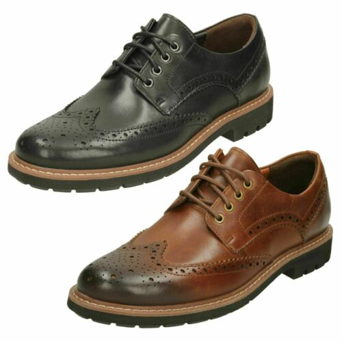 Mens Clarks Formal Lace Up Brogues Batcombe Wing Black /& Tan Leather
