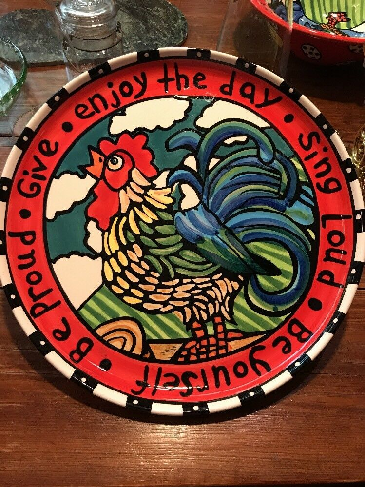Nicole Engblom 14  ROOSTER PLATTER Beautiful Pottery Ceramic
