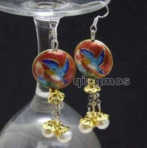 SALE-18mm-Red-Round-Cloisonne-amp-6-7mm-White-Natural-Pearl-Dangle-earring-ear596