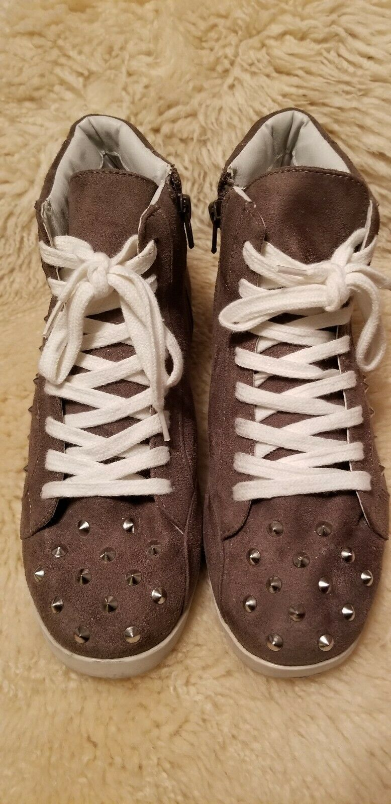Candies Studded High Top Sneakers,  Taupe, Sz 8