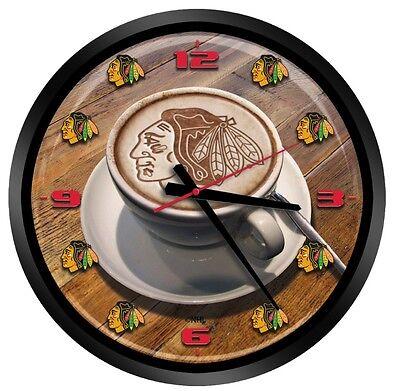 "NEW CHICAGO BLACKHAWKS LATTEAM COFFEE ART GLASS WALL CLOCK 15"""