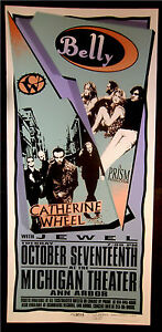Rare-Mark-Arminski-Belly-Jewel-Catherine-Wheel-1995-Silkscreen-Concert-Poster