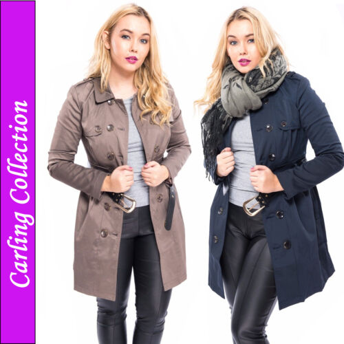 Womens Ladies Trench Mac Coat Double Breasted Belted Jacket Smart Work Summer