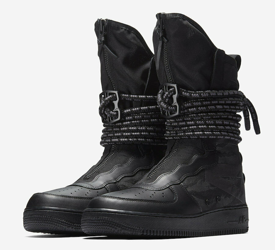 Nike SF AF1 High Black & Dark Grey Camo Zipper & Rope Laces Size 10  200