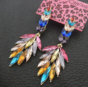 Women-039-s-Multi-Color-Crystal-Rhinestone-Leaf-Betsey-Johnson-Stud-Earrings