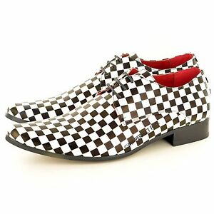 Mens Black White Checkerd Pattern Leather Lined Pointed Winkle Pickers Lace up Shoes