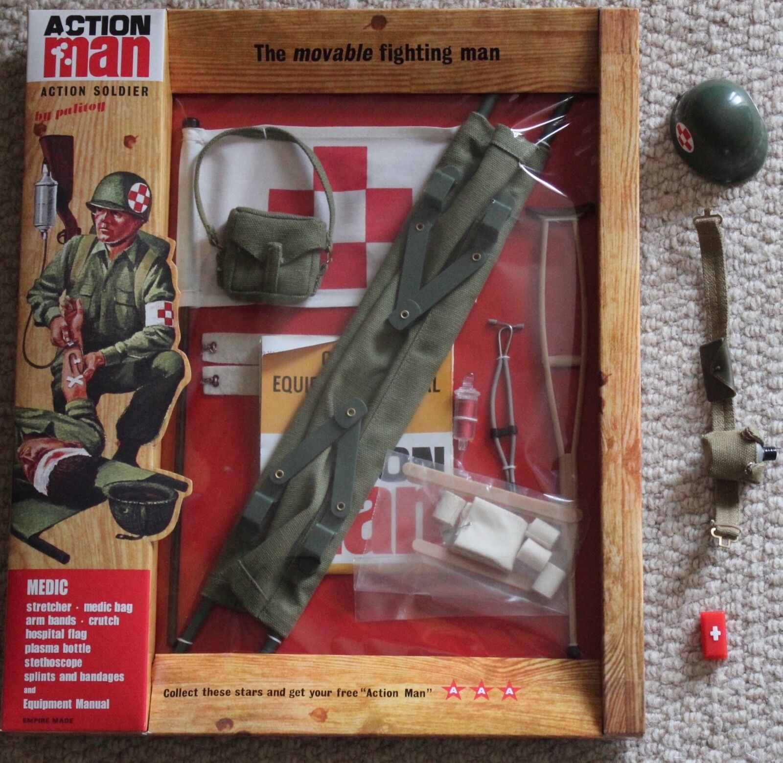 VINTAGE ACTION MAN 40th LOOSE ACTION SOLDIER MEDIC HELMET 1//6 SCALE