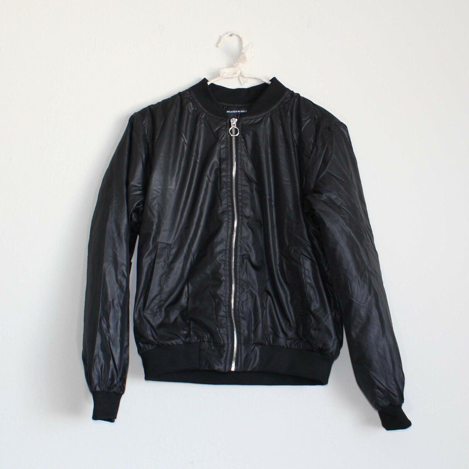 Brandy Melville Bomber Jacket Black XS Shiny Semi Cropped