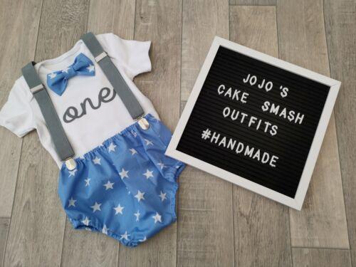 Baby Boys 1st Birthday Cake Smash Outfit Photo Prop Handmade. Blue//white Star