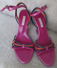 Bruno Magli Ladies Magenta Strappy Shoes Hand Made Italy Size 38 EUR Size 7AA US