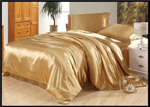 BRAND NEW  SOLID 1000TC 4pc SHEET SET HOTEL SATIN SILK  CHOOSE SIZE AND COLOR