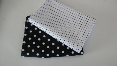 Baumwollstoff  2 x 50 x 140 cm schwarz//weiß